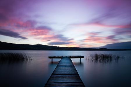 自然,山,湖,码头,钓鱼,美女,度假,爱尔兰