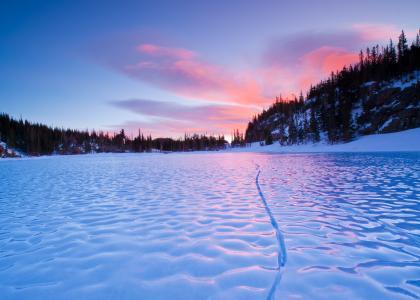 河,宏,冬天,雪,冰