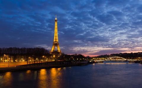 法国,巴黎,晚上,巴黎,埃菲尔铁塔,河,灯