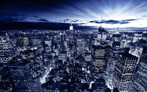 日食,21世纪的一座城市,高层建筑