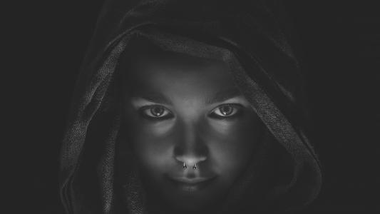 女孩,创意,照片,穿孔,黑色和白色背景