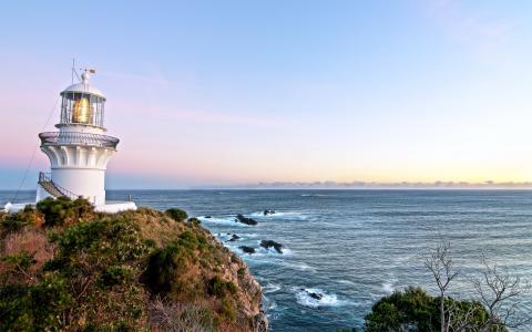 灯塔,风暴,悬崖,白色的塔