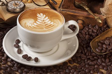 卡布奇诺,泡沫,铲,杯,飞碟,咖啡,谷物