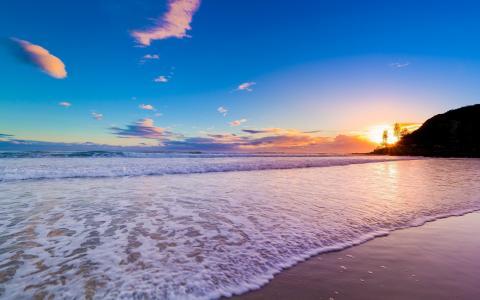 岸,日出,海,波浪,澳大利亚