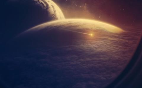 舷窗,行星,空间,小行星,云,船