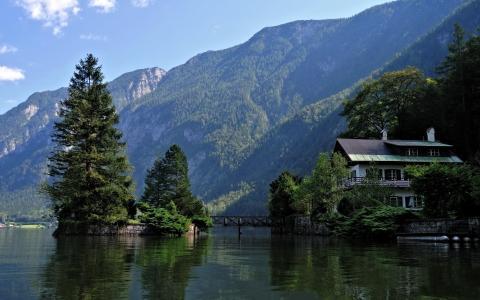 山,湖,森林,夏天,超级照片,房子