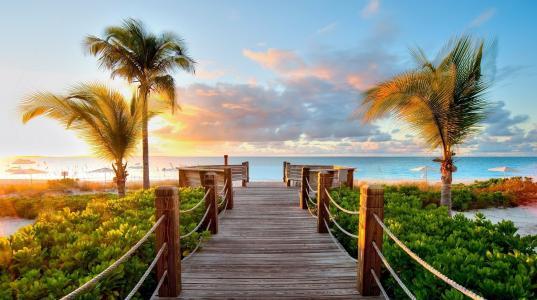 自然,天堂,海洋,度假村