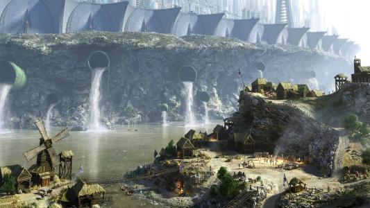 城市,悬崖,下水道,房屋