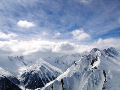 云,高峰,山,雪