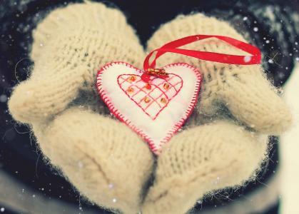 心,情人节,爱,雪
