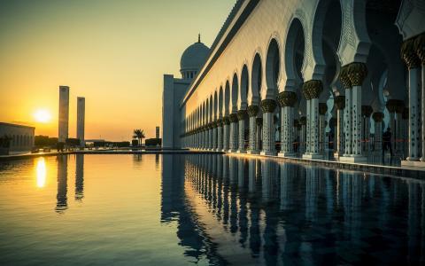 迪拜,阿联酋,列,太阳,日落,水,游泳池,美丽,城市