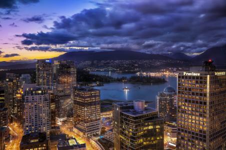 温哥华,夜晚的城市,加拿大,建筑物,温哥华,加拿大