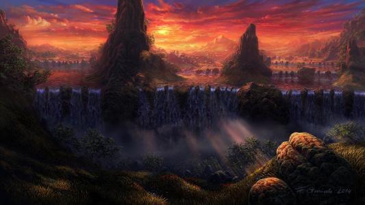 瀑布,河,鸟,景观,瀑布