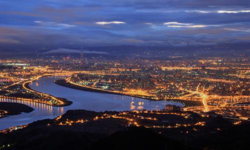 中国,台北,蓝色,海峡,夜,台湾,中国,城市