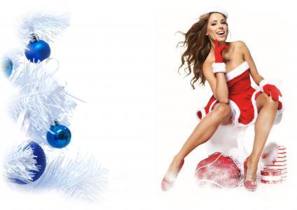 女孩,雪少女,圣诞树,玩具,红色