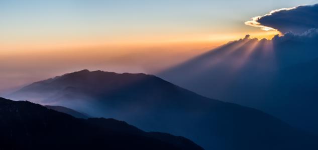 地平线,剪影,山,云,雾,日出,太阳光线