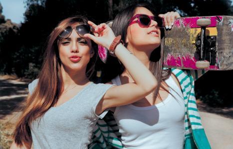 女孩,照片,积极,黑妞,棕发,主题,眼镜,宏,性质