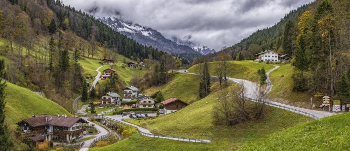 山,建筑物,田园,休息,自然