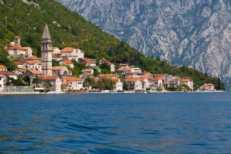 城市,黑山,海边,房子,海