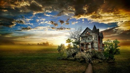 日落,场,房子