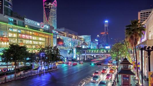 泰国,城市,街,建筑物,房屋,灯,晚上,汽车,美容