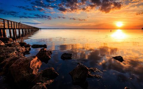 海,码头,石头,太阳,日落