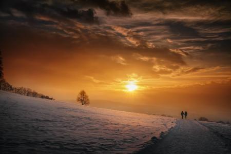 天空,冬天,云,太阳,雪,性质,夫妇