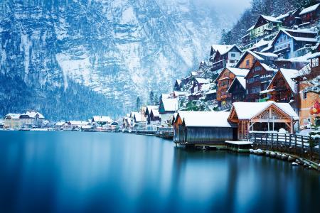 奥地利,山,城市,建筑物,湖,雪,房子,美女