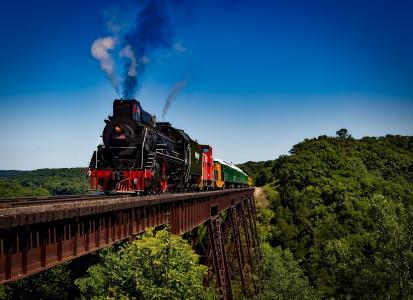 火车,机车,旅行,运输,铁路,烟雾,景观,自然,桥梁,森林,树木