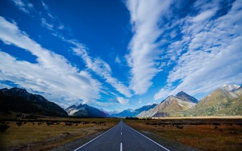 高速公路,路,山,滑雪