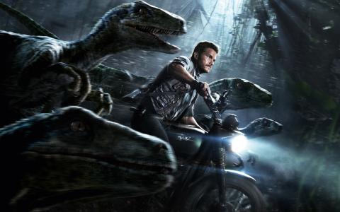 克里斯普拉特,侏罗纪世界,恐龙,摩托车
