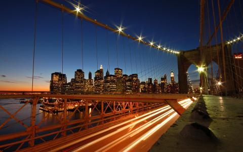 日落,城市,地平线,摩天大楼,布鲁克林大桥
