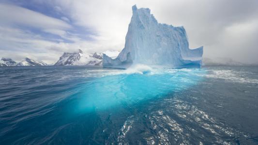 冰山,海,山,美女,冰