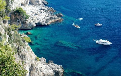 岸,悬崖,小船,海,石头