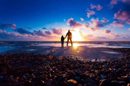 儿子,父亲,照片,积极,沙滩,海,卵石,美丽,极简主义
