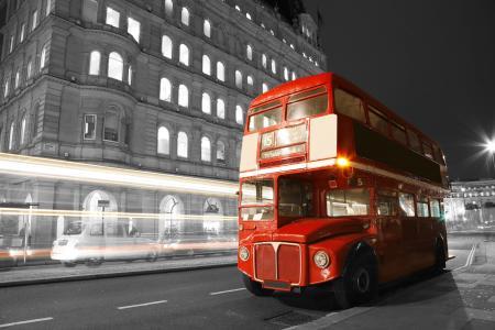 英格兰,路,巴士,模糊,黑色和白色,晚上,灯,伦敦,城市,街道,伦敦