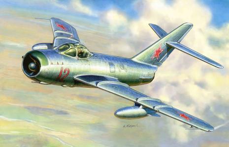 艺术,战斗机,苏联,米格-17,飞机,喷气式飞机