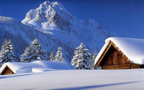 自然,山,冬天,雪