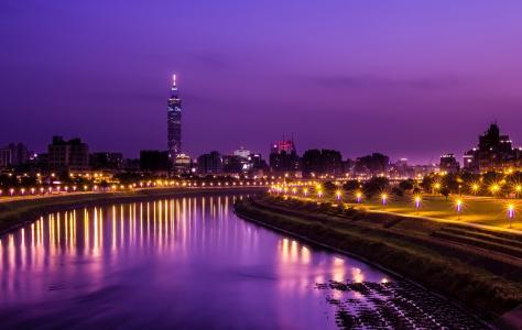 塔,台北,城市,台湾,晚上,cnr,中国