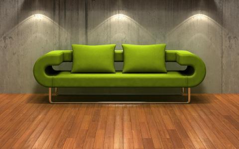 3d,沙发,绿色,镶木地板,墙上,背光