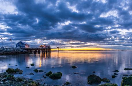 加拿大,景观,河,码头,天空,日落,石头,温哥华,云,性质
