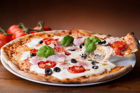 比萨,西红柿,橄榄,奶酪,披萨,菜