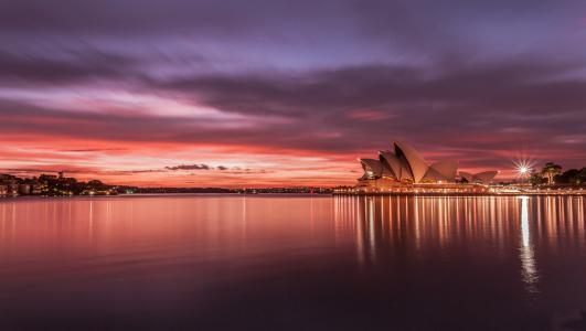澳大利亚,日落,歌剧院,悉尼,悉尼,澳大利亚,城市