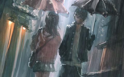 雨,动漫,伞,男人