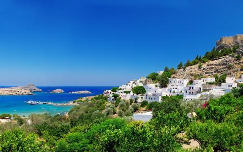 希腊,景观,堡垒,海岸,房屋,树木,性质