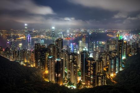 城市,香港,中国,摩天大楼,晚上,美丽,山,湾