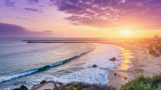 海滩,日落,海岸,CORONA,DEL,MAR,NEWPORT,海滩