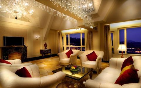 风格,优雅,米色,家具,房间,扶手椅