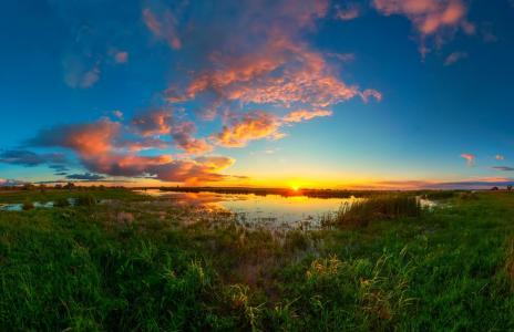 晚上,湖,莎草,天空,日落,Sagaidak帕维尔