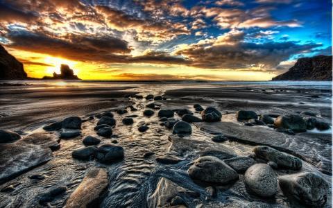 日落,海,石头